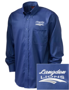 Langdon Elementary School Lions  Embroidered Men's Nailhead Non-Iron Button-Down
