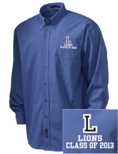 Langdon Elementary School Lions  Embroidered Men's Easy Care, Soil Resistant Shirt