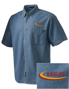 Pinnacles Continuation High School Eagles  Embroidered Men's Denim Short Sleeve