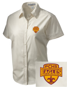 Pinnacles Continuation High School Eagles Embroidered Women's Short Sleeve Easy Care, Soil Resistant Shirt
