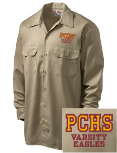 Pinnacles Continuation High School Eagles Embroidered Dickies Men's Long-Sleeve Workshirt