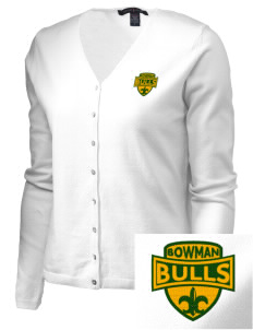 Bowman Elementary School Bulls Embroidered Women's Stretch Cardigan Sweater