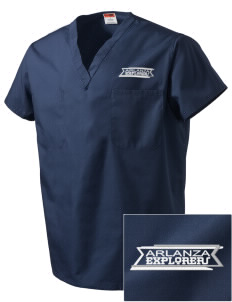 Arlanza Elementary School Explorers Embroidered V-Neck Scrub Top