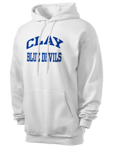 Clay High School Blue Devils Men's 7.8 oz Lightweight Hooded Sweatshirt