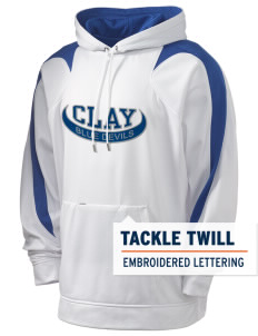 Clay High School Blue Devils Holloway Men's Sports Fleece Hooded Sweatshirt with Tackle Twill