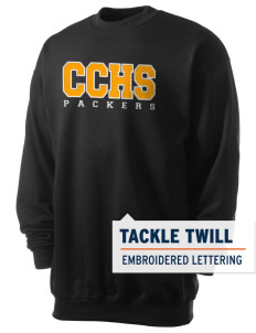 Colquitt County High School Packers Men's 7.8 oz Lightweight Crewneck Sweatshirt with Tackle Twill