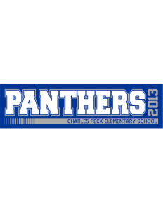 "Charles Peck Elementary School Panthers Bumper Sticker 11"" x 3"""