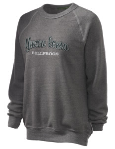 Yucca Loma Elementary School Bullfrogs Unisex Alternative Eco-Fleece Raglan Sweatshirt with Distressed Applique