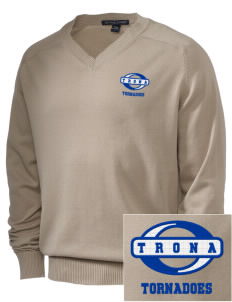 Trona High School Tornadoes Embroidered Men's V-Neck Sweater