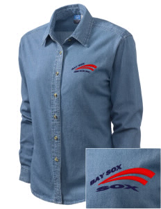 Bay Sox Sox Embroidered Women's Long-Sleeve Denim Shirt