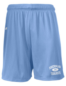 "Sherman Elementary School Sharks  Russell Men's Mesh Shorts, 7"" Inseam"