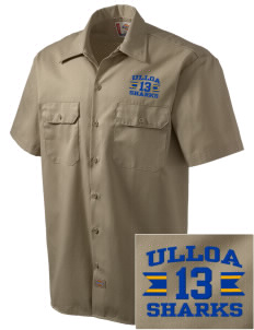 Ulloa Elementary School Sharks Embroidered Dickies Men's Short-Sleeve Workshirt