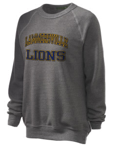 Lammersville Elementary School Lions Unisex Alternative Eco-Fleece Raglan Sweatshirt with Distressed Applique