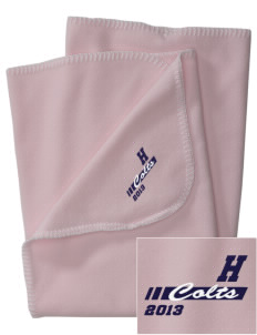 Heather Elementary School Colts Embroidered Fleece Receiving Blanket