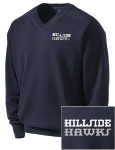 Hillside Elementary School Hawks Embroidered Men's V-Neck Sweater