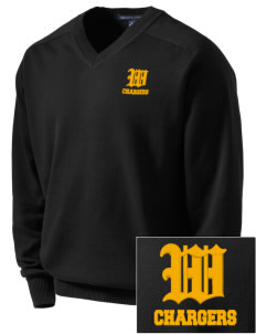 Wilcox High School Chargers Embroidered Men's V-Neck Sweater