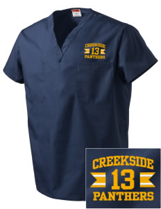 Creekside Middle School Panthers Embroidered V-Neck Scrub Top