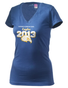 Olivehurst Elementary School Eagles Juniors' Fine Jersey V-Neck Longer Length T-shirt