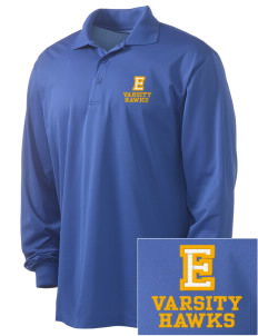 Explorer Elementary School Hawks Embroidered Men's Long Sleeve Micropique Sport-Wick Sport Shirt