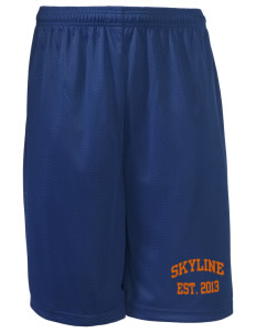 "Skyline Elementary School Eagles Long Mesh Shorts, 9"" Inseam"