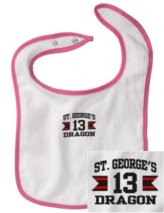 St. George's School Dragon Embroidered Baby Snap Terry Bib