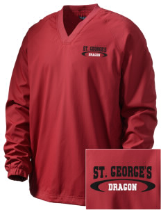 St. George's School Dragon Embroidered Men's V-Neck Raglan Wind Shirt