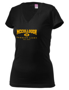McCullough Elementary School Lions Juniors' Fine Jersey V-Neck Longer Length T-shirt