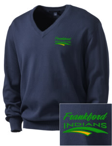 Frankford Elementary School Indians Embroidered Men's V-Neck Sweater