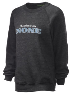 Thornton Creek None Unisex Alternative Eco-Fleece Raglan Sweatshirt with Distressed Applique