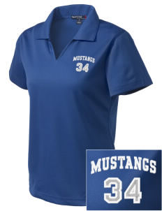 Ramona Elementary School Mustangs Embroidered Women's Dri Mesh Polo