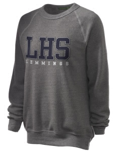 Leiphart Alternative High School Lemmings Unisex Alternative Eco-Fleece Raglan Sweatshirt with Distressed Applique