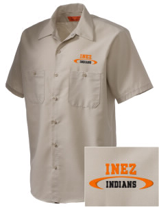 Inez Elementary School Indians Embroidered Men's Cornerstone Industrial Short Sleeve Work Shirt