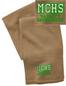 Meade County High School Greenwaves  Embroidered Knitted Scarf