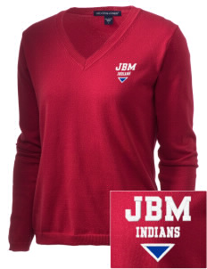 J B McNabb Middle School Indians Embroidered Women's V-Neck Sweater