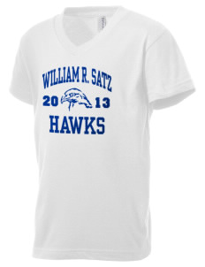 William R. Satz School Hawks Kid's V-Neck Jersey T-Shirt