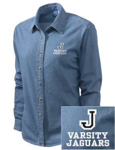 Jackson Elementary School Jaguars Embroidered Women's Long-Sleeve Denim Shirt
