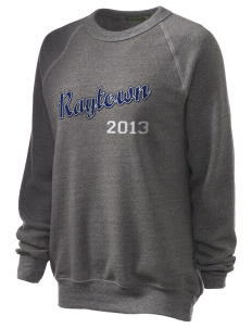 Raytown Middle School Blue Jays Unisex Alternative Eco-Fleece Raglan Sweatshirt with Distressed Applique
