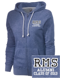Raytown Middle School Blue Jays Embroidered Women's Marled Full-Zip Hooded Sweatshirt