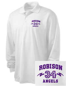 Robison Middle School Angels Embroidered Men's Long Sleeve Micropique Sport-Wick Sport Shirt