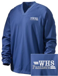 Wallkill High School Panthers Embroidered Men's V-Neck Raglan Wind Shirt