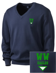 Woodrow Wilson Elementary School Eagles Embroidered Men's V-Neck Sweater
