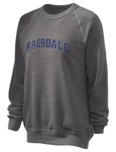 Ragsdale High School Tigers Unisex Alternative Eco-Fleece Raglan Sweatshirt with Distressed Applique