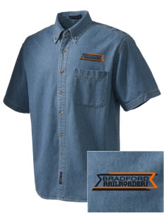 Bradford High School Railroaders  Embroidered Men's Denim Short Sleeve