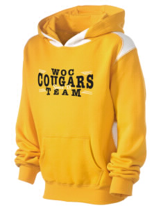 W O Cline Elementary School Cougars Kid's Pullover Hooded Sweatshirt with Contrast Color
