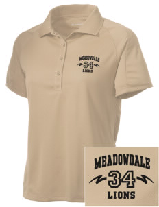 Meadowdale High School Lions Embroidered Women's Polytech Mesh Insert Polo