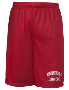 "Mustang Middle School Broncos Long Mesh Shorts, 9"" Inseam"