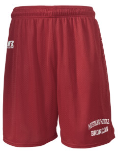 "Mustang Middle School Broncos  Russell Men's Mesh Shorts, 7"" Inseam"