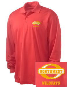 Northwest 6th Grade Center Wildcats Embroidered Men's Long Sleeve Micropique Sport-Wick Sport Shirt