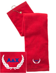 Alpha Delta Chi Embroidered Hand Towel with Grommet