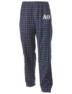 Alpha Theta Men's Button-Fly Collegiate Flannel Pant with Distressed Applique
